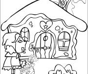 Coloring pages Red Riding Hood in front of her grandmother's house