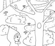 Coloring pages Red Riding Hood in the forest