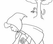 Coloring pages Red Riding Hood picking flowers