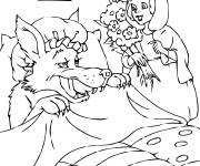 Coloring pages Red Riding Hood visits her grandmother