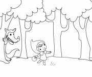Coloring pages Red Riding Hood walking