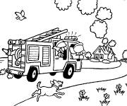Coloring pages Firefighting fire truck