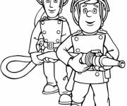 Coloring pages Fireman Sam the brave firefighter
