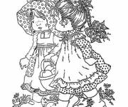 Coloring pages Sarah Kay and her friend