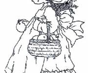 Coloring pages Sarah Kay collects apples
