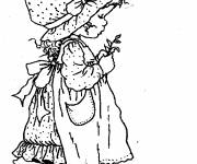 Coloring pages Sarah Kay holds a small plant