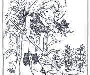 Coloring pages Sarah Kay is gardening