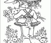 Coloring pages Sarah Kay picks flowers