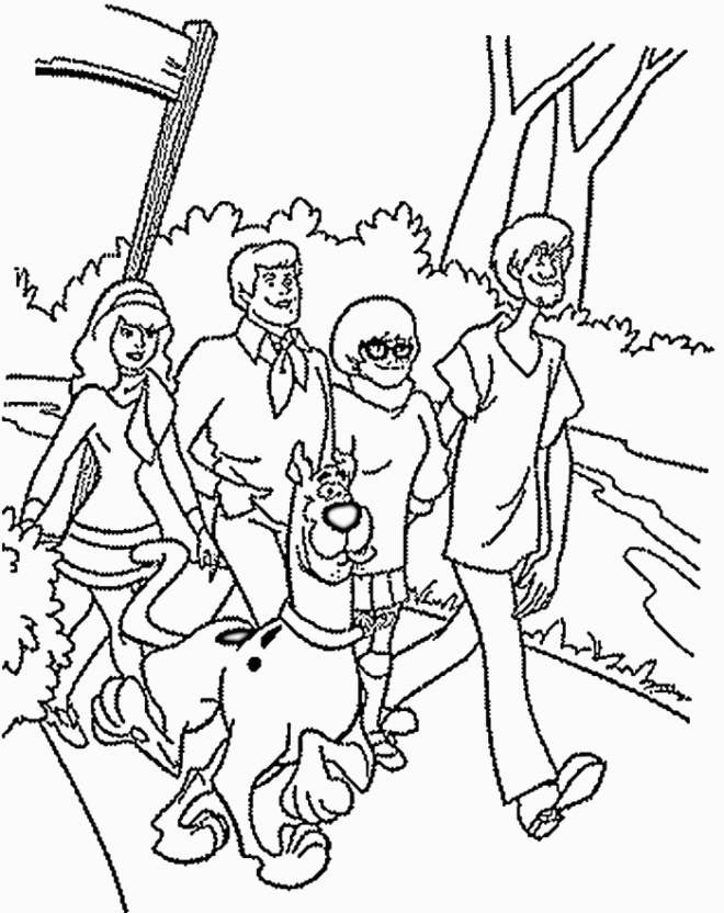 Free coloring and drawings Scooby doo and his friends in kind Coloring page