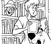 Coloring pages Scooby doo and Sammy in the library