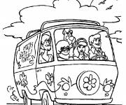 Coloring pages Scooby doo by car