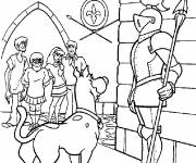 Coloring pages Scooby doo talks with a soldier