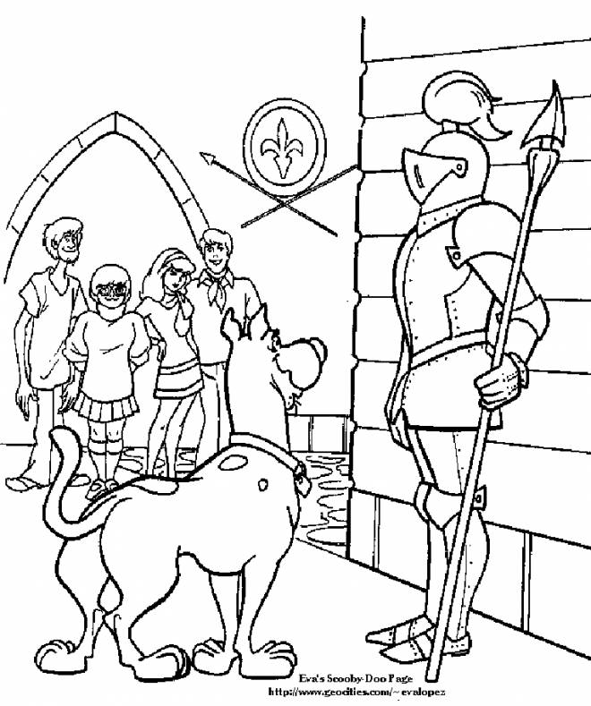 Free coloring and drawings Scooby doo talks with a soldier Coloring page