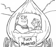 Coloring pages Shrek and the princess are married