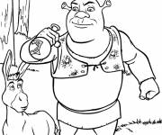 Coloring pages Shrek drinks the potion