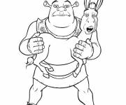 Coloring pages Shrek holds the donkey in hand