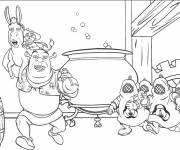 Coloring pages Shrek runs away with the donkey