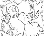 Coloring pages Shrek's donkey drinks the potion
