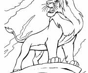 Coloring pages Simba on his rock