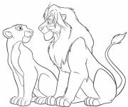 Coloring pages The Lion King and Nala look at each other