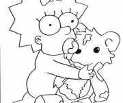 Coloring pages Baby simpson plays