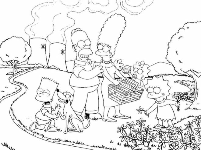 Free coloring and drawings Simpson family online Coloring page