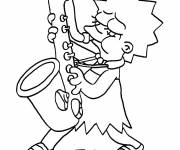 Coloring pages Simpson Lisa plays the saxophone