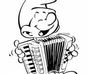 Coloring pages Free Musician Smurf