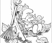 Coloring pages Gardener smurf