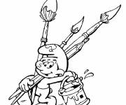 Free coloring and drawings Painter smurf Coloring page