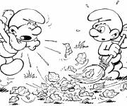 Coloring pages Smurf cleans the garden