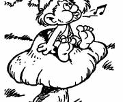 Coloring pages Smurf sings