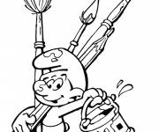 Coloring pages Smurf the painter online