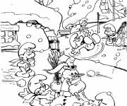 Free coloring and drawings The village of the Smurfs Coloring page