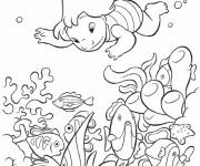Coloring pages Lilo dives into the sea
