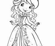 Coloring pages Strawberry in a beautiful free dress
