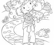 Coloring pages strawberry shortcake and her dog cartoon
