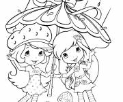 Coloring pages strawberry shortcake loves the rain