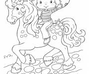 Coloring pages strawberry shortcake on her free horse