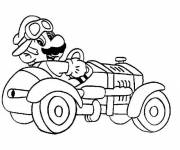 Coloring pages Mario Bros and his Race car