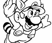 Coloring pages Mario Bros drawing while flying