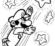 Coloring pages Mario catches the stars