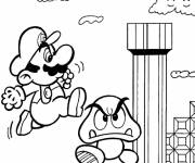Coloring pages Mario mushroom character for kids