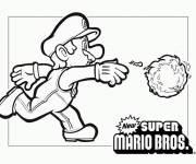 Coloring pages Super Mario throws the fireball