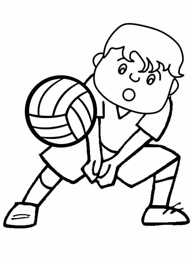 Free coloring and drawings A boy plays Volleyball Coloring page