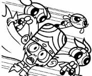 Coloring pages The Powerpuff Girls and Mojo Jojo