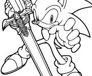 Coloring pages Sonic is holding a sword