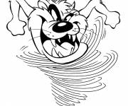 Coloring pages Taz runs very quickly funny