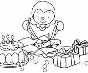 Coloring pages Charley opens his gifts for children