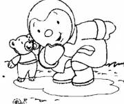 Coloring pages Charley plays with Mimmo